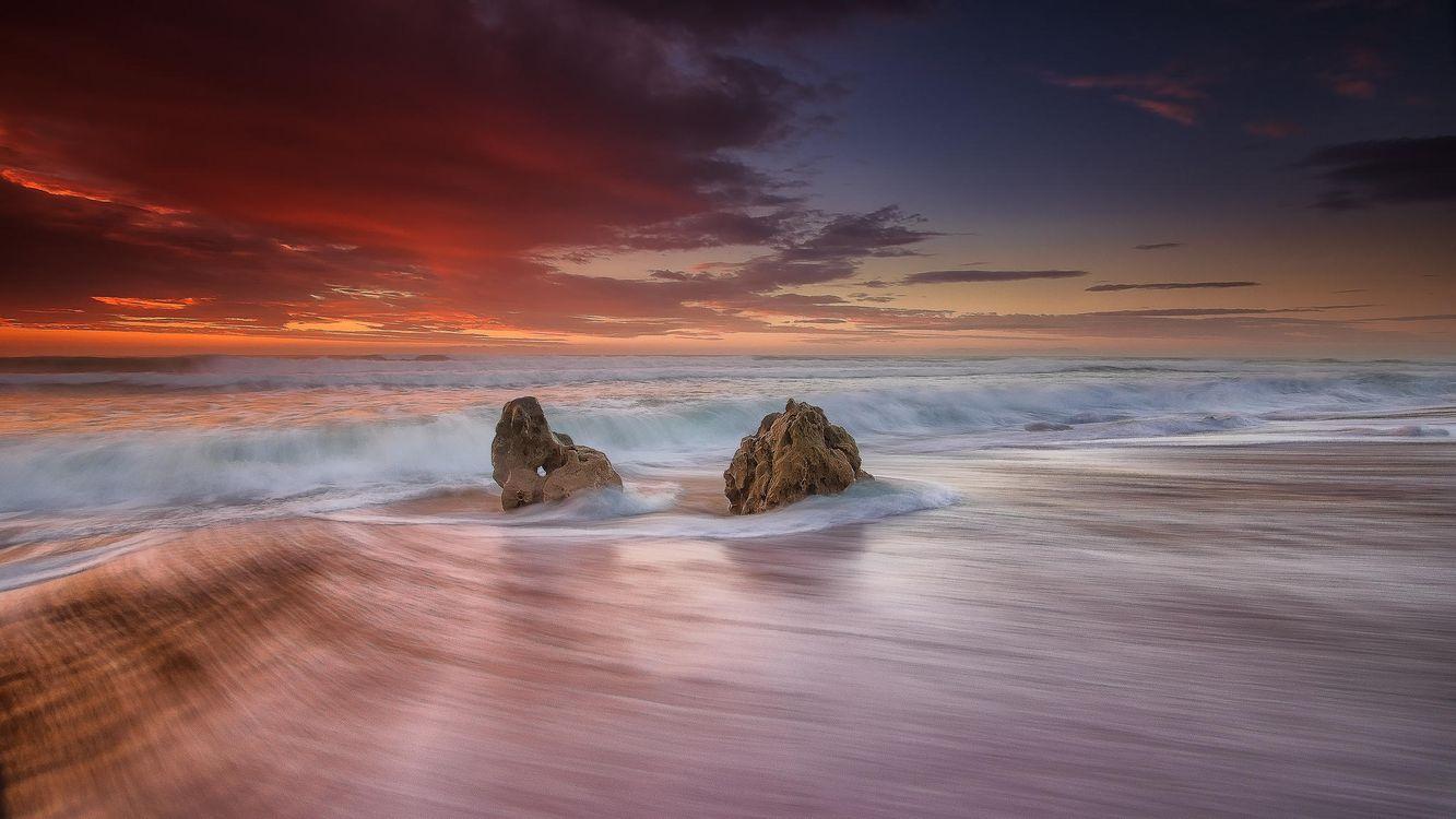 Фото бесплатно пляж, Bicas, Португалия, море, волны, закат, берег, пейзаж, пейзажи