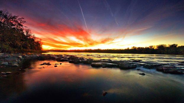 Фото бесплатно чудесный закат, река, течение