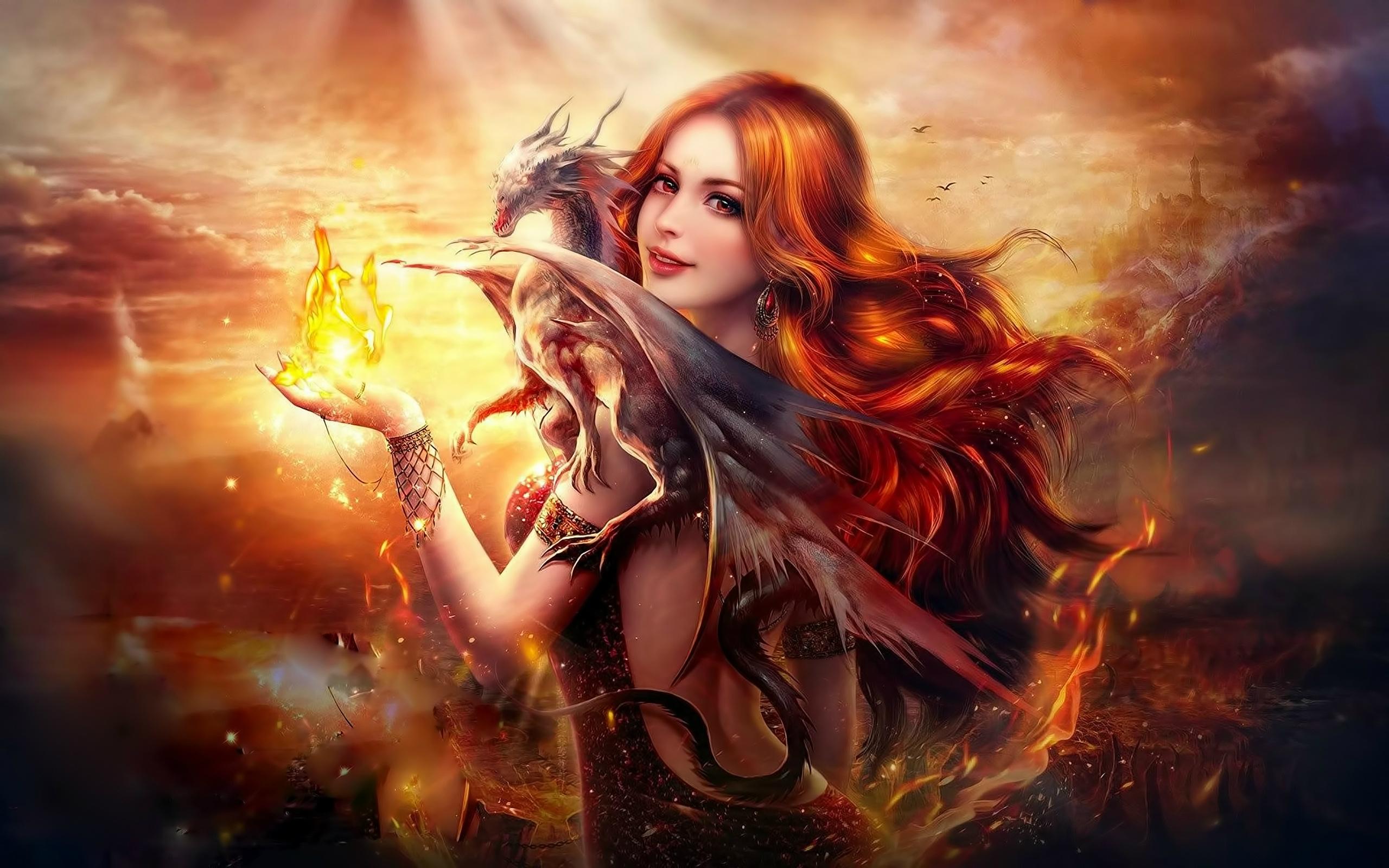 Обои девушка и дракон, фантастика, art