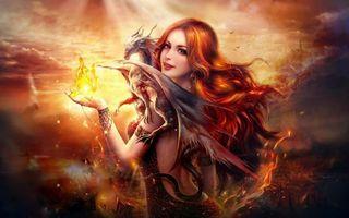 Бесплатные фото девушка и дракон,фантастика,art