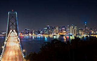 Бесплатные фото ночь, деревья, река, мост, фонари, огни, дома