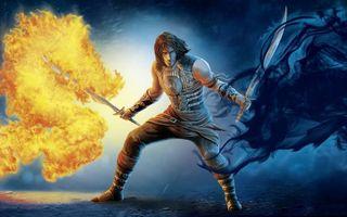 Бесплатные фото воин, доспехи, мечи, огонь, пламя, дым