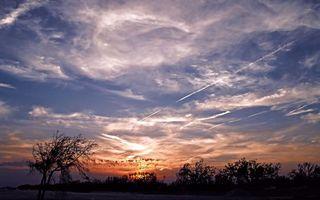 Фото бесплатно вершины, закат, деревья