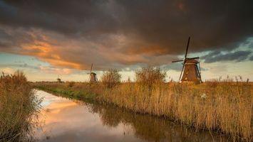 Фото бесплатно мельница, закат, Нидерланды