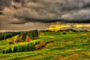 Бесплатные фото осень,поля,холмы,деревья,дома,пейзаж