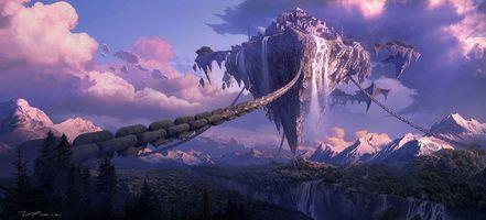 Бесплатные фото арт, лес, летающий остров, пандора, город, гора, цепи