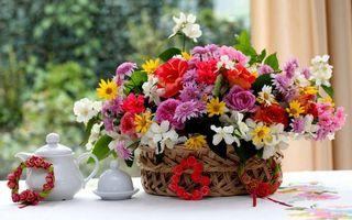 Заставки композиция,розы,корзинка,герань,жасмин,букет