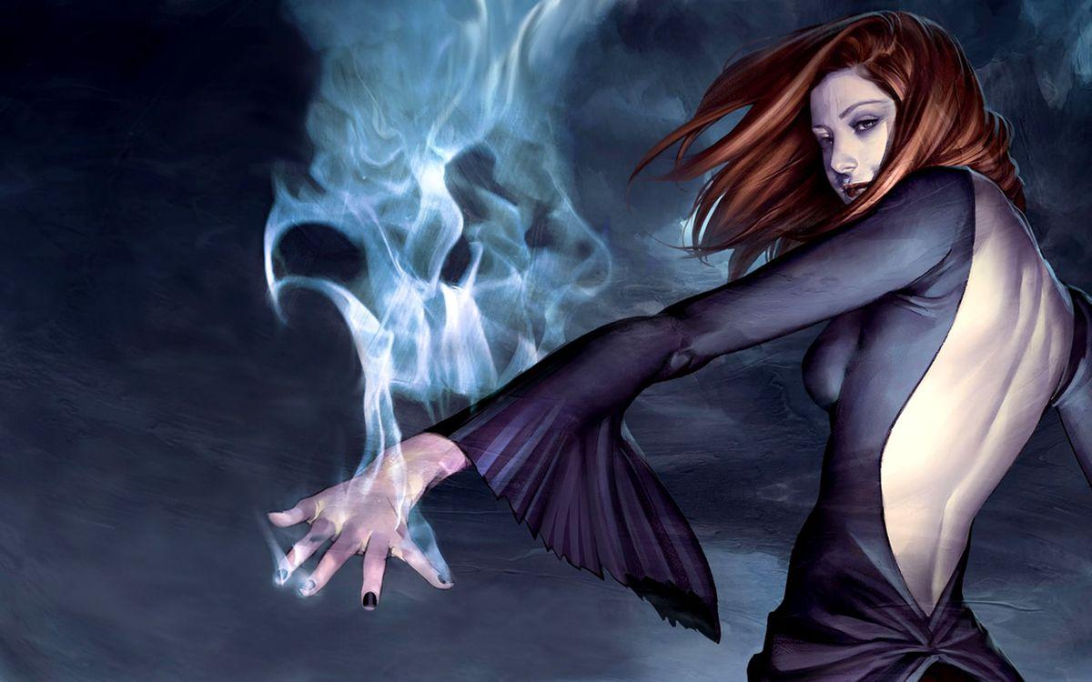 Фото бесплатно девушка, волосы, платье, рукав, дым, свечение, дар, магия, разное, разное