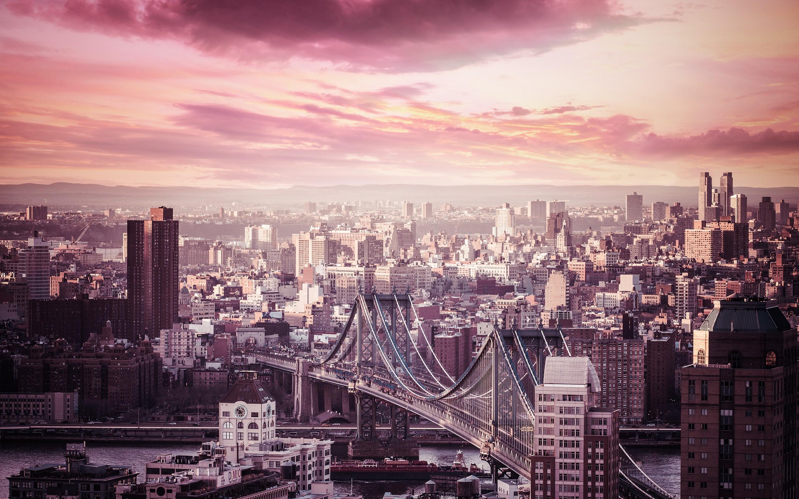 дома, небоскребы, мост