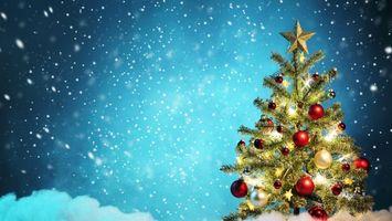 Бесплатные фото елка,украшения,снег,зима,праздник,звезда,новый год