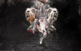 Заставки фон, черный, голова, крик, эмоции, баскетбол, кольцо, прыжок, спорт
