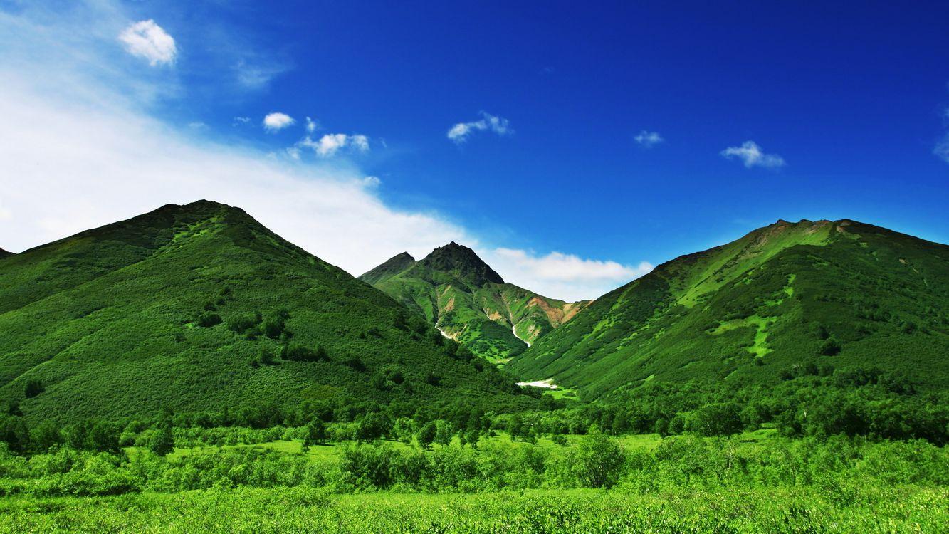 Фото бесплатно горы, зелень, кустарник, трава, небо, облака, природа, природа