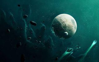 Фото бесплатно метеоритное падение на планету в глубинах космоса, спутник, туманность