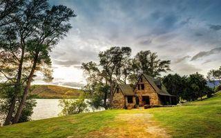 Photo free river, shore, house