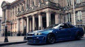 Бесплатные фото синий,nissan skyline gtr r34,nissan,skyline,gtr,r34,машины