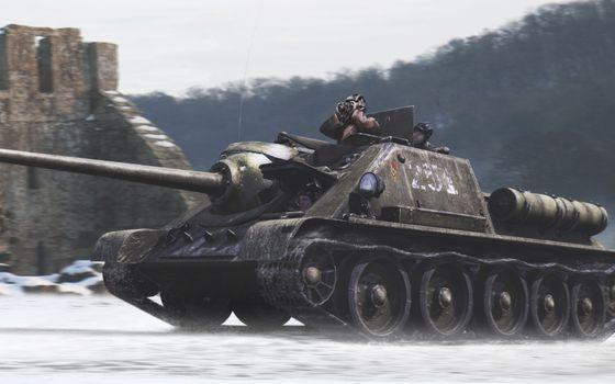 Бесплатные фото су-100,пт-сау,танк,дуло,прицел,пушка,выстрел,война,учения,поле,бой,люди