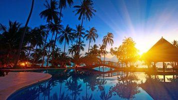 Фото бесплатно тропики, курорт, закат