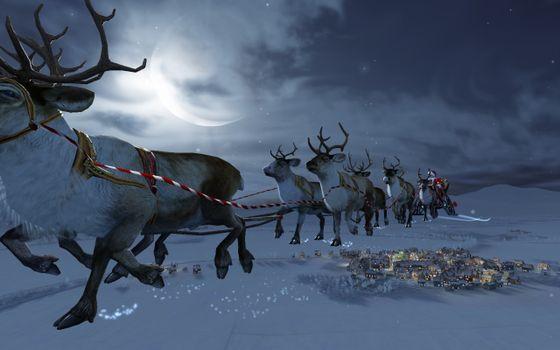 Фото бесплатно дед мороз, сани, олени