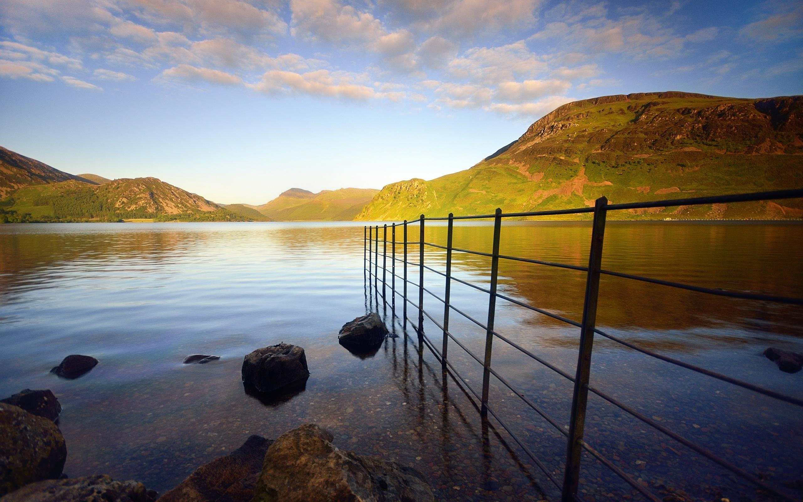 берег, камни, ограда