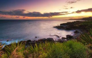 Бесплатные фото берег,моря,трава,земля,небо,облака,закат