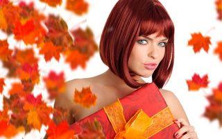 Фото бесплатно рыжие волосы, осенние листья, девушки