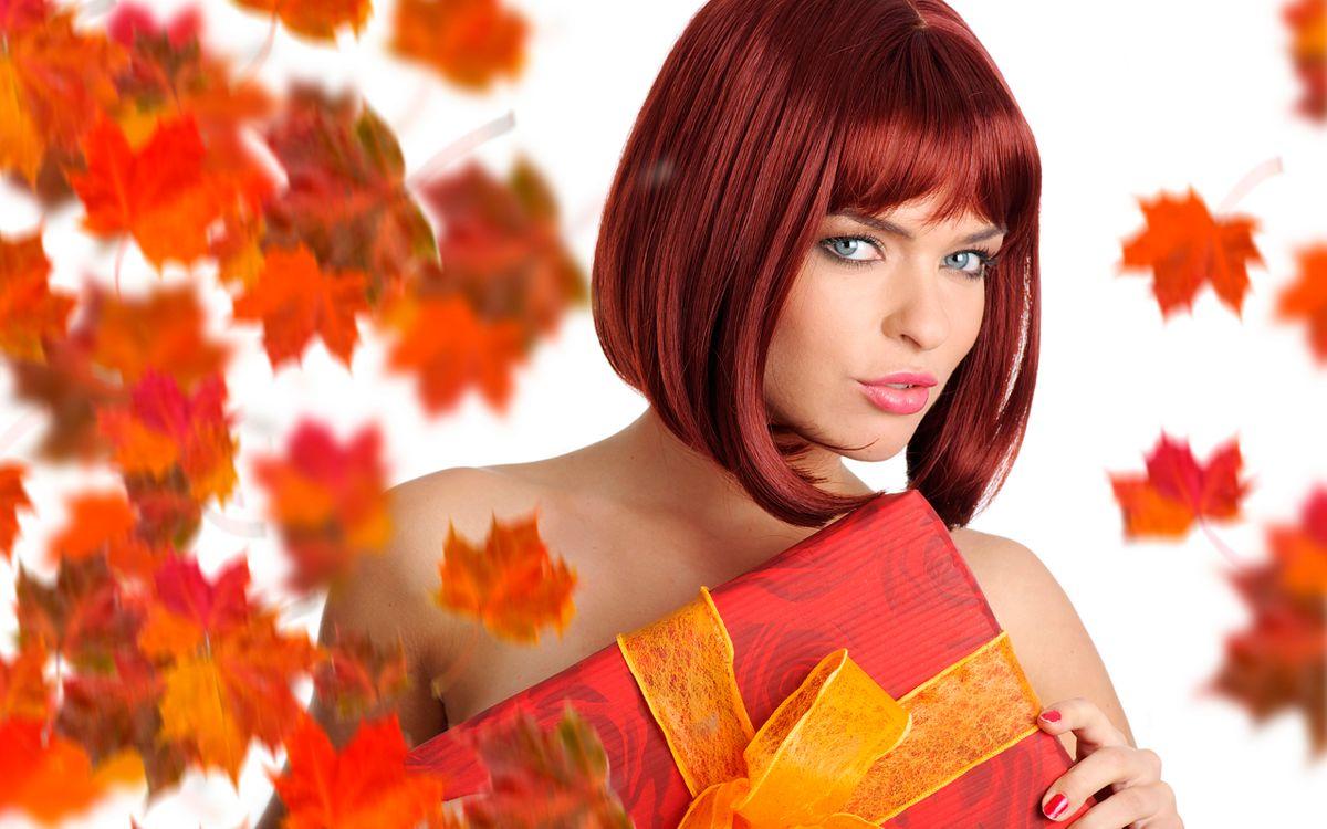 Фото бесплатно рыжие волосы, осенние листья, девушки - на рабочий стол