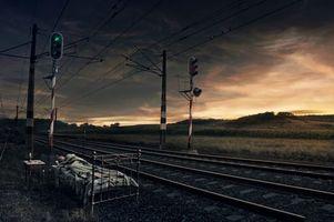 Бесплатные фото железная,дорога,кровать,человек,сон,светофор,рассвет