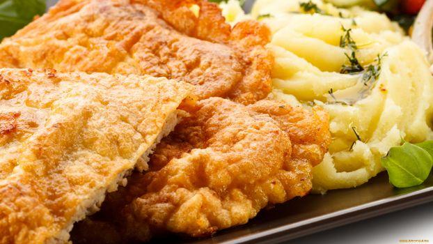 Фото бесплатно картошка, зелень, тарелка