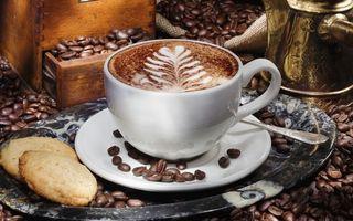 Бесплатные фото кофе,пенка,рисунок,чашка,зерна,тарелка,ложечка