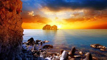 Фото бесплатно море, камни, солнце