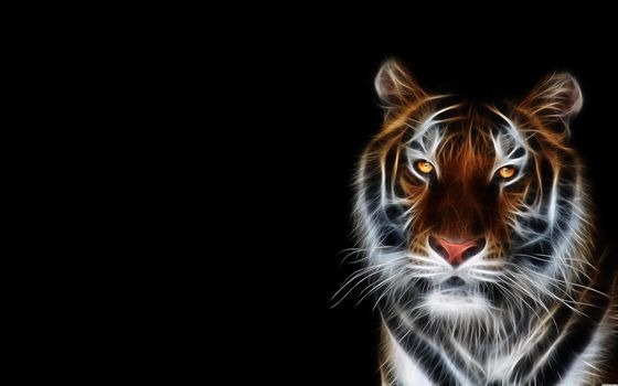 Фото бесплатно тигр, 3d, art