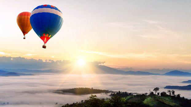 Фото бесплатно воздушные шары, солнце, туман