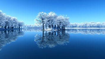 Обои зима, озеро, островок, деревья, иней, снег, красота, чистое, небо, мороз, природа