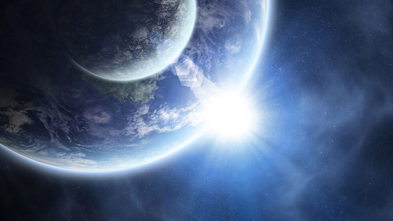 Фото бесплатно восход солнца, земля, луна, звезды, планета, космос, космос