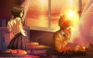 Обои bleach, ichigo, rukia, school, sunset, аниме