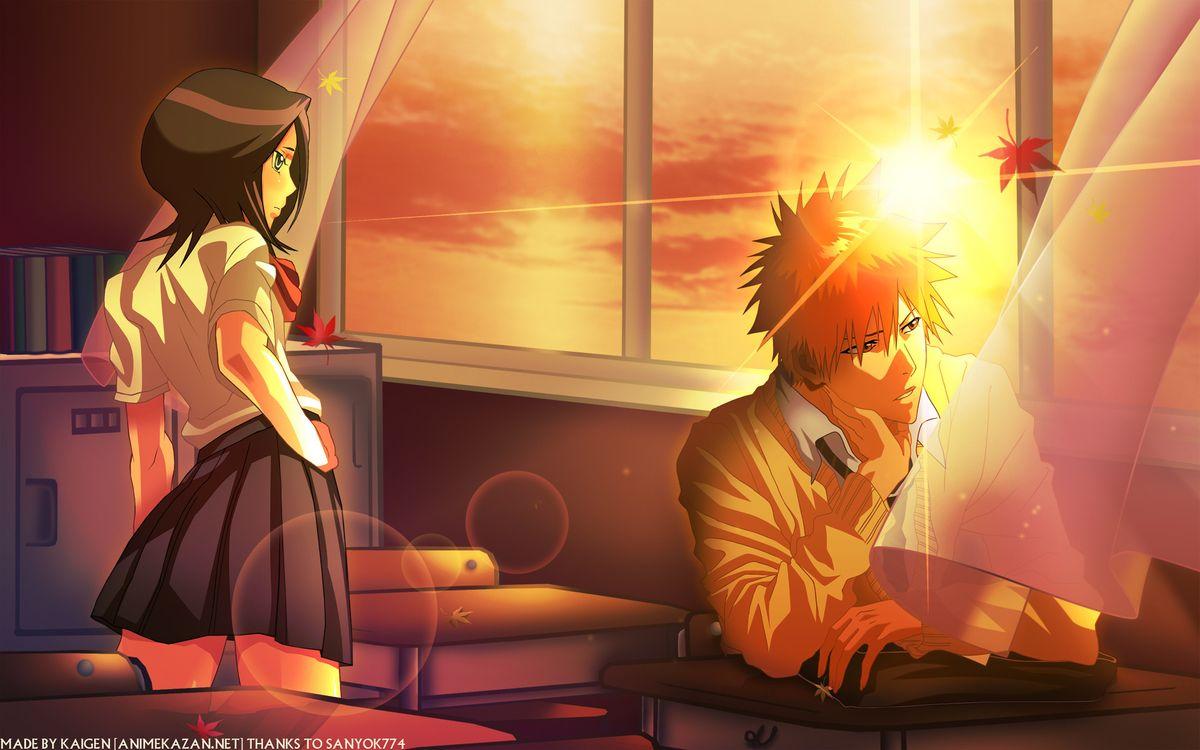 Фото бесплатно bleach, ichigo, rukia, school, sunset, аниме, аниме