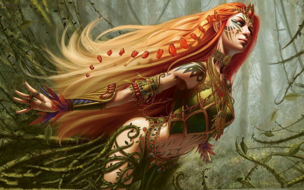 Фото бесплатно девушка, рисунок, арт, искусство, рыжая, волосы, длинные, лес, джунгли, костюм, мультфильмы, разное, разное