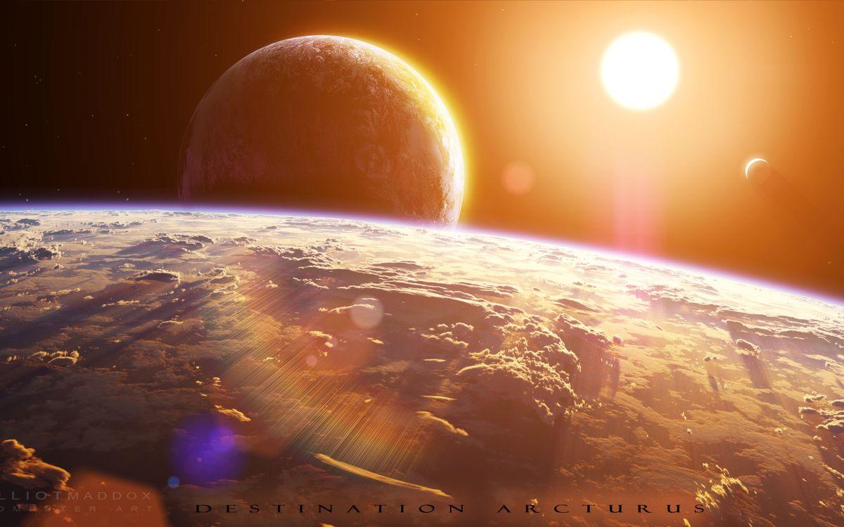 Фото бесплатно новые миры, солнце, планета, облака, кислород, вода, спутник, галактика, космос, космос