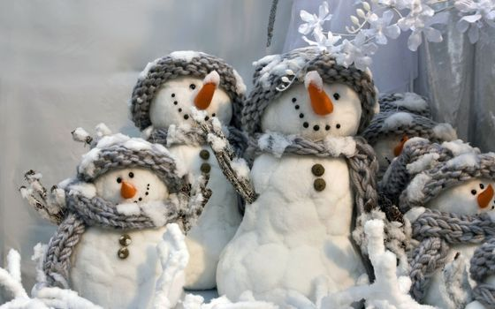 Бесплатные фото снеговики,игрушки,ветки,цветочки,украшение,поделка,одежда,нос,пуговки,новый год,настроения,праздники