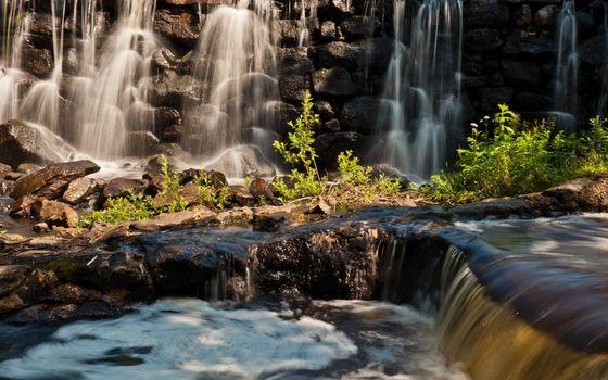 Фото бесплатно водопад, брызги, ручей