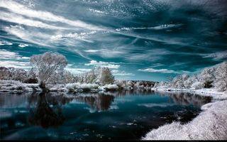Бесплатные фото зимова казка,річка,вода,сніг,зима,дерева,в снігу