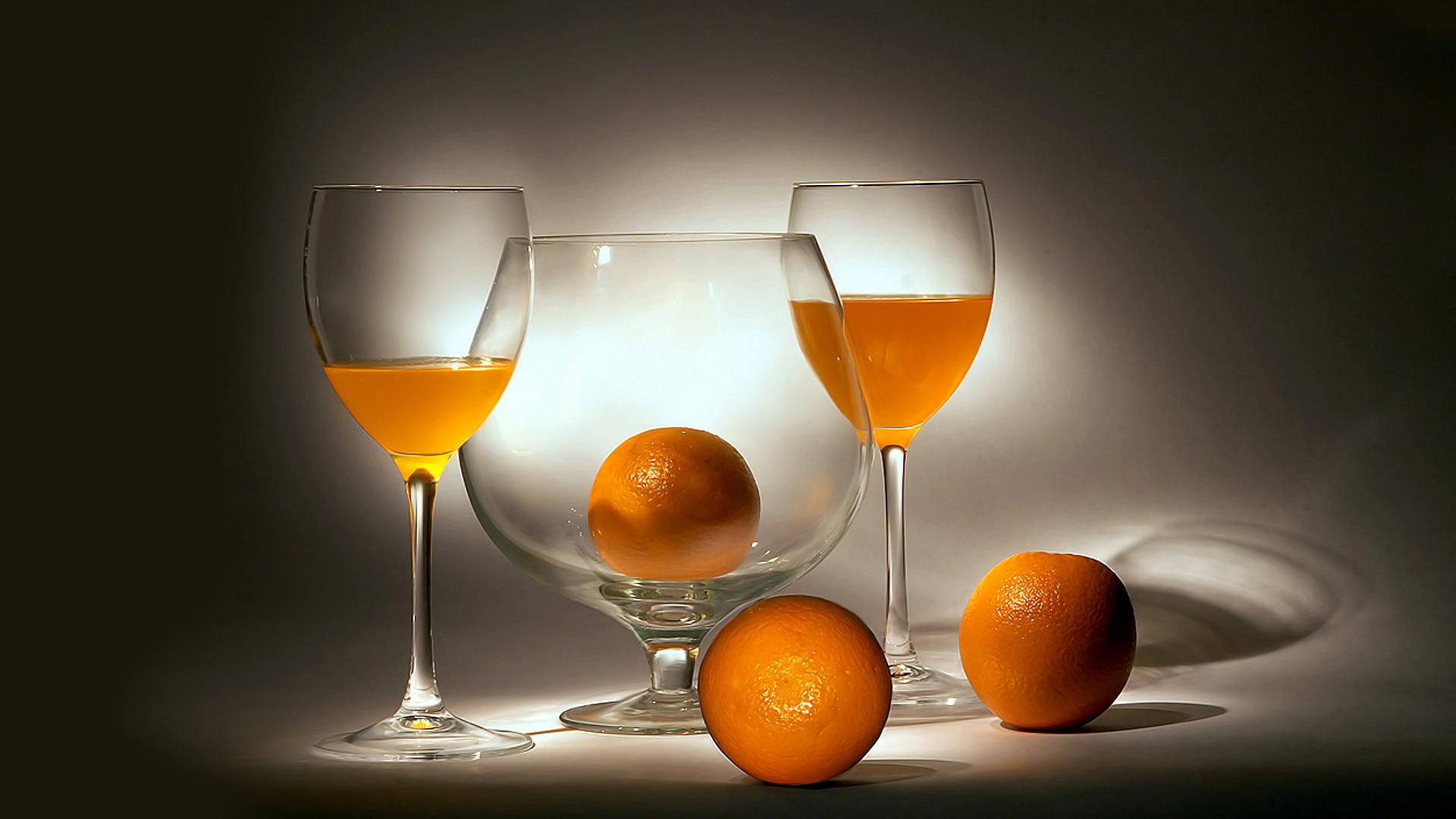 апельсиновый сок, апельсины, бокалы