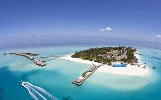 Бесплатные фото остров,океан,дома,мостики,катер,пейзажи