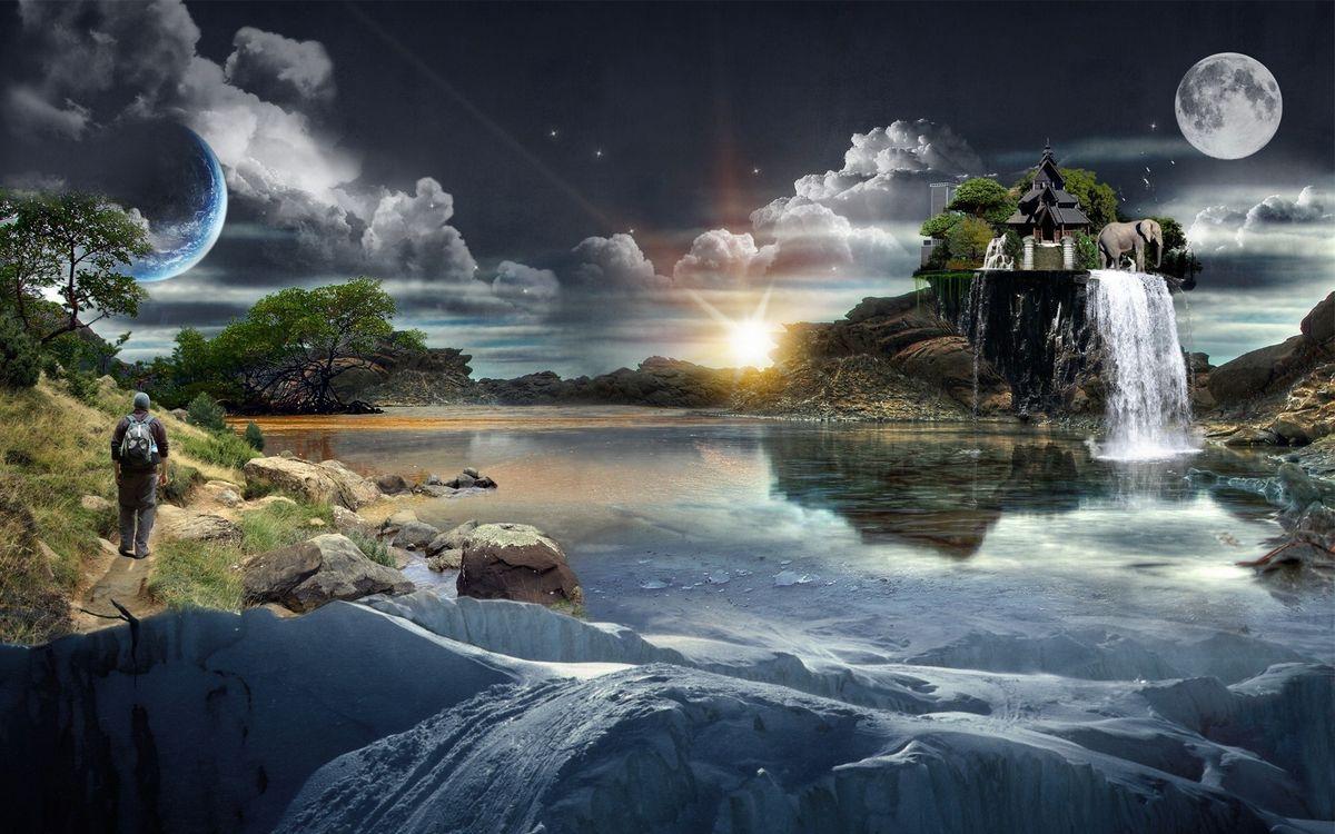 Фото бесплатно новый мир, жизнь, новая земля, планеты, человек, животные, дом, вода, озеро, разное