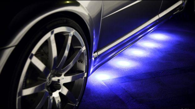 Фото бесплатно подсветка, неон, синий, порог, автомобиль, диск, машины