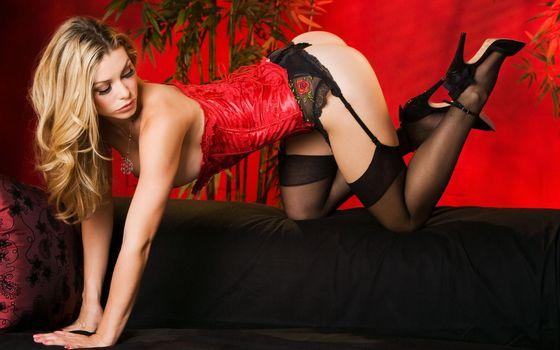 Фото бесплатно блондинка, корсет, красный