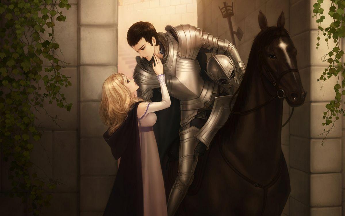 Фото бесплатно девочка, накидка, волосы, белые, рыцарь, доспехи, лошадь, аниме, аниме