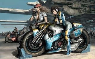 Фото бесплатно девушки, костюмы, форма, кепки, волосы, мотоцикл, байк, колеса, руль, люди, спорт