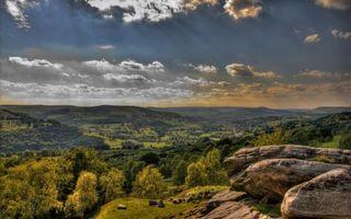 Бесплатные фото холмы,лес,деревья,трава,камни,тучи,природа