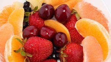 Заставки клубника, апельсин, грейпфрут, черника, вишня, десерт, фрукты, ягоды, еда